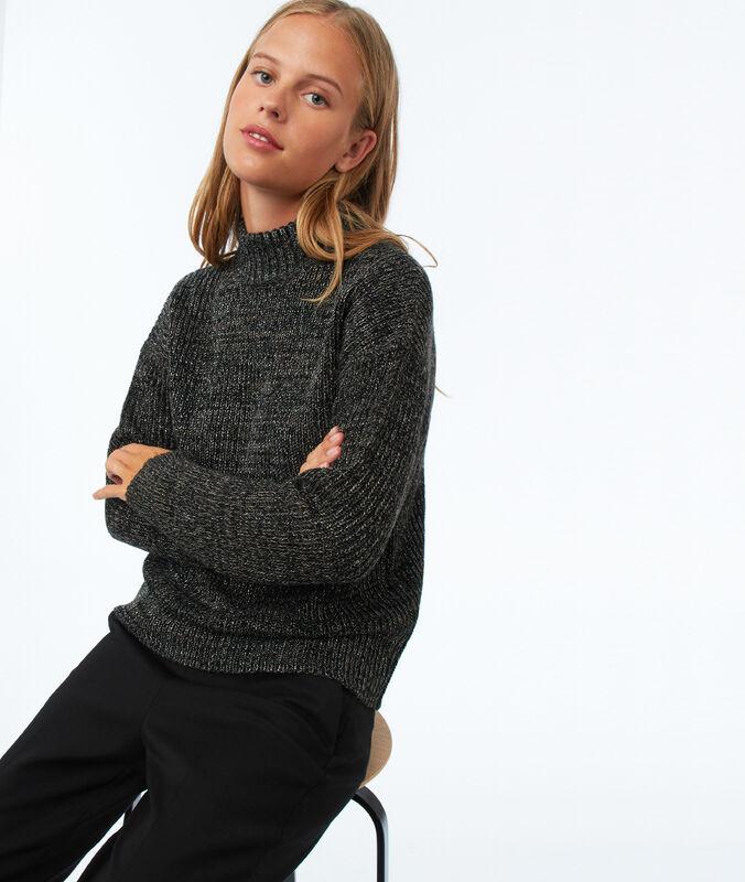 Pullover mit rollkragen und metallic-fäden dunkelgrau meliert.