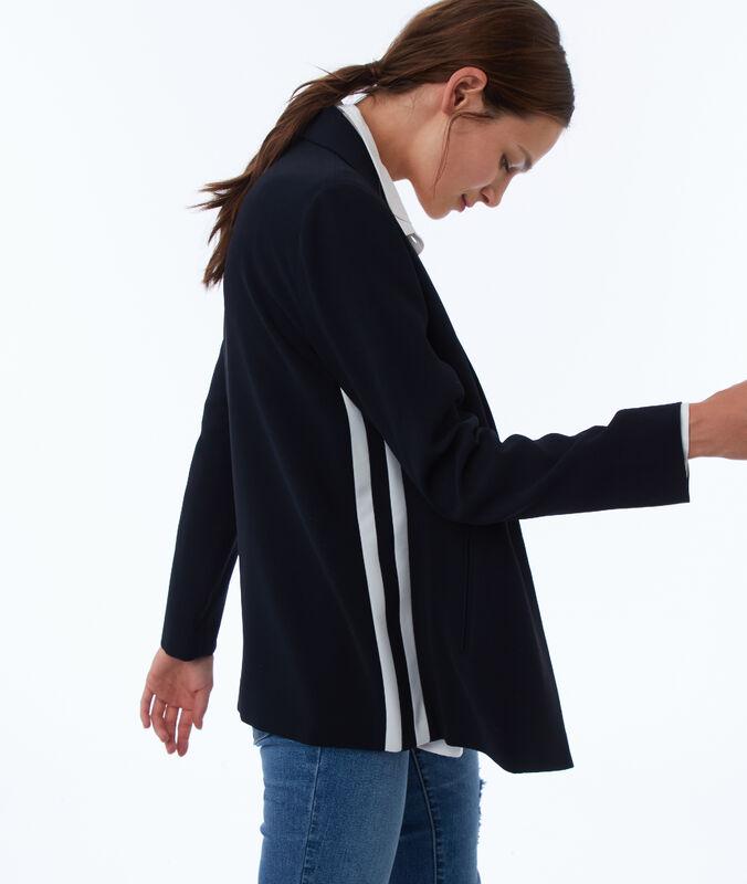 Jacke mit seitlichen bändern marineblau.