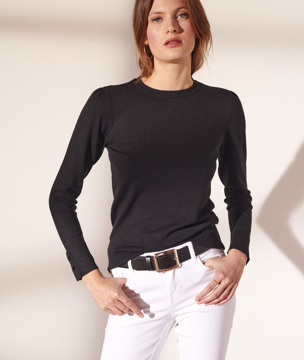 Pullover mit rundem Ausschnitt aus feinem Strick