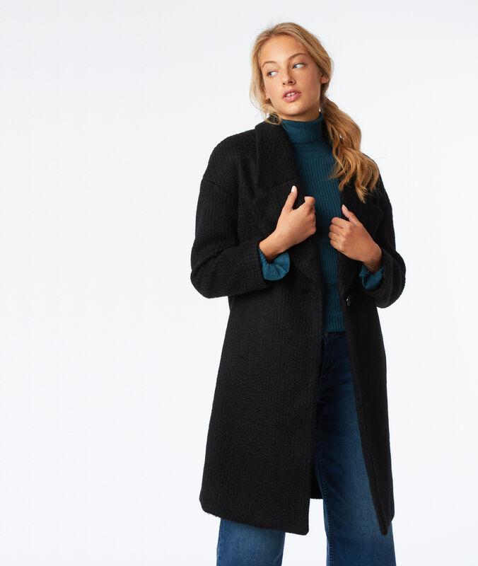 Oversize-mantel aus melierter wolle schwarz.