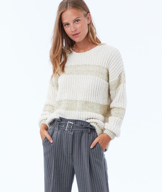 Oversize-pullover aus strick mit metallic-fäden beige.