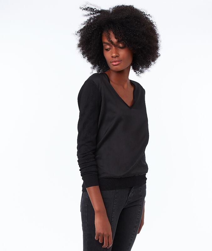 Pullover mit v-ausschnitt und aus zwei materialien schwarz.