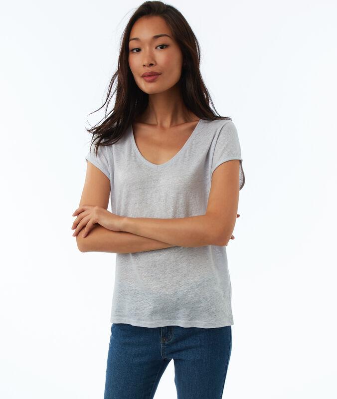 T-shirt mit v-ausschnitt gebrochen weiß.