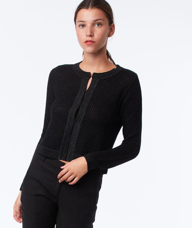 Veste courte à fil métallisé noir.