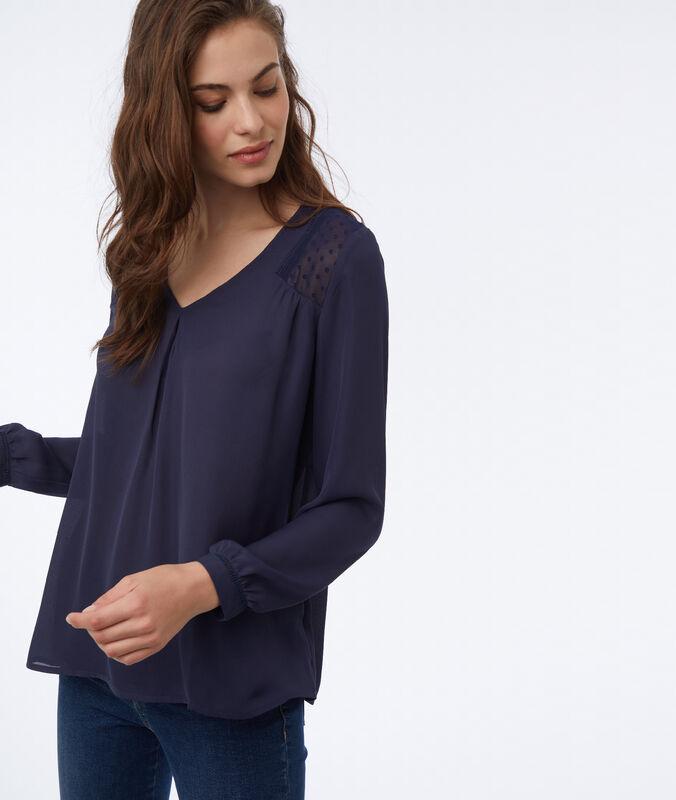 Bluse mit transparenten details marineblau.