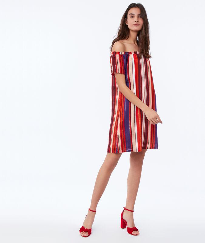 Kleid mit print, freie schultern orange.