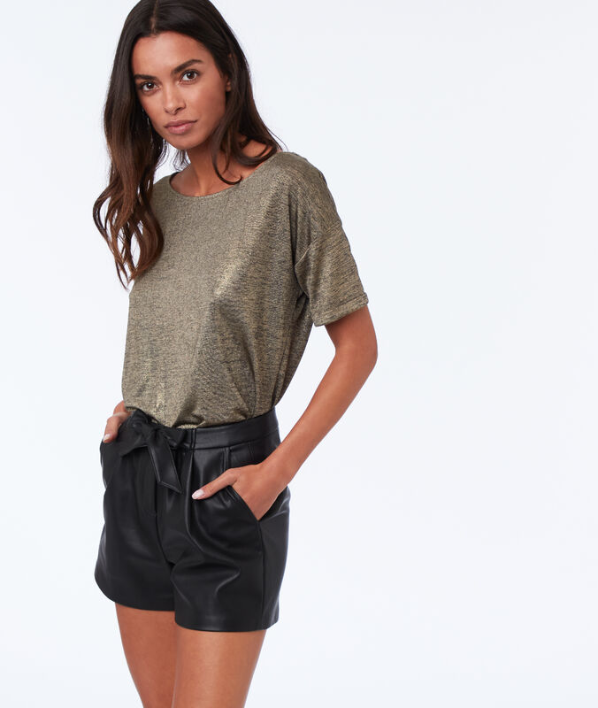 Shorts in lederoptik schwarz.