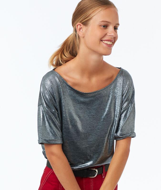 T-shirt mit u-boot-ausschnitt und metallic-fäden silberfarben.