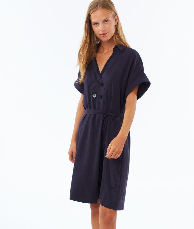 Geknöpftes kleid zum binden marineblau.