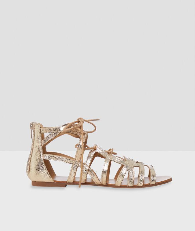 Sandalen mit pailletten goldfarben.