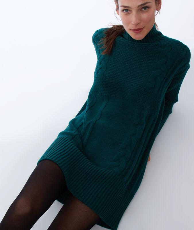 Pulloverkleid aus wolle tannengrün.