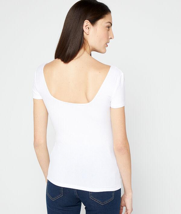 Geripptes Top mit ausgeschnittenem Rücken