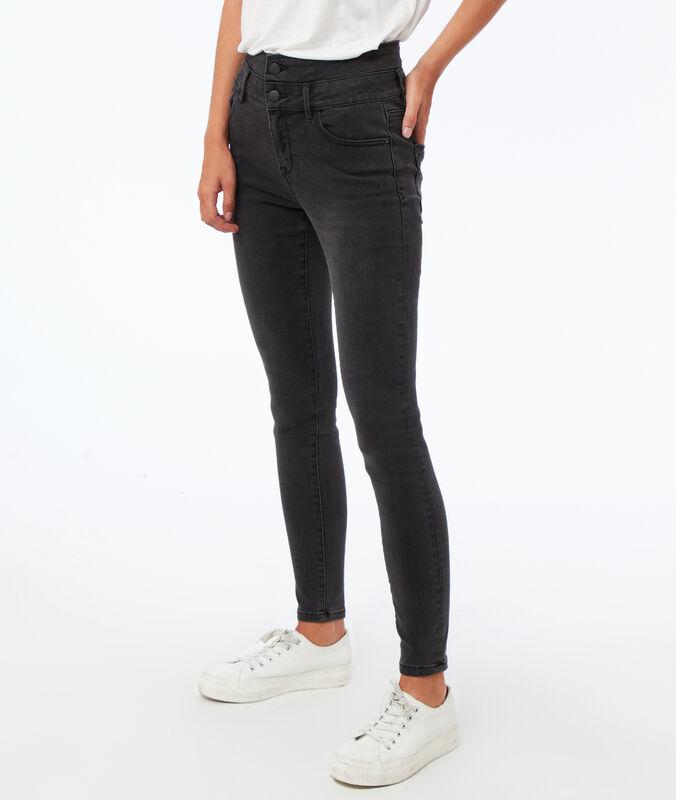 Slim-jeans mit hoher taille anthrazitgrau.