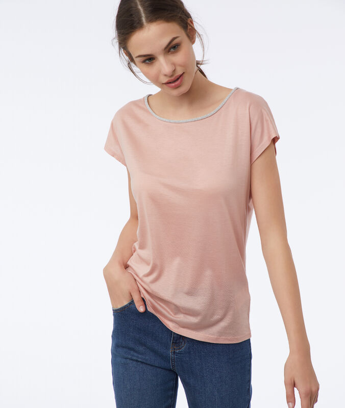 T-shirt mit metallic-farbener einfassung nude.