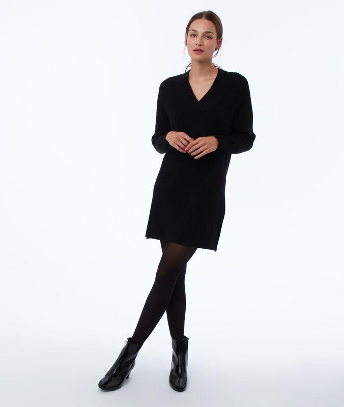 Pulloverkleid mit v-ausschnitt schwarz.