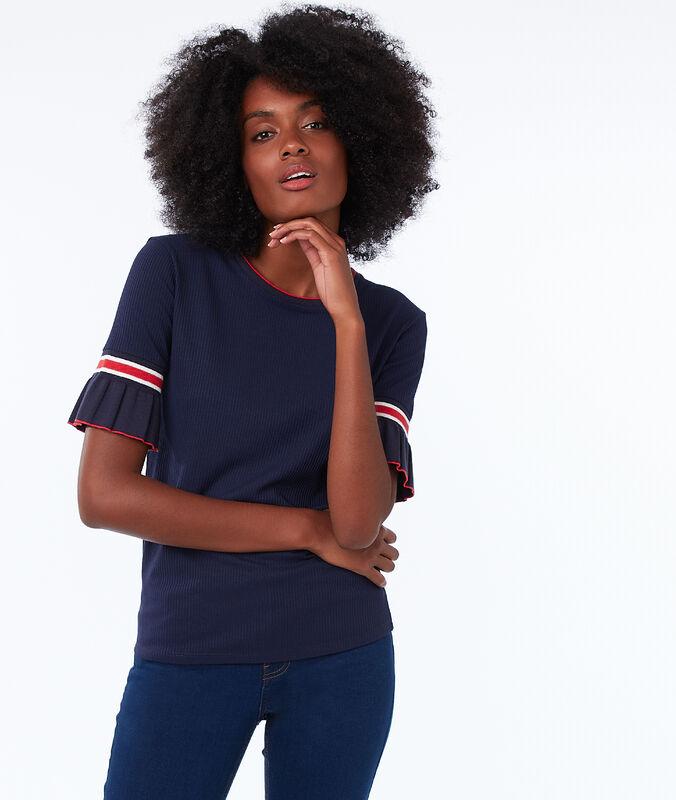T-shirt mit rüschenärmeln marine.