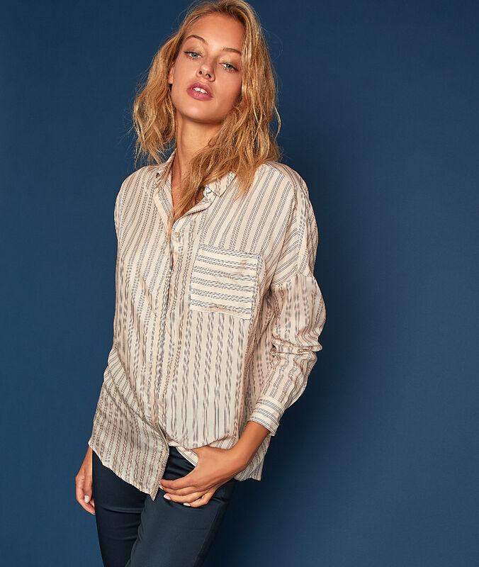 Gestreifte bluse mit tunesischem kragen ecru.
