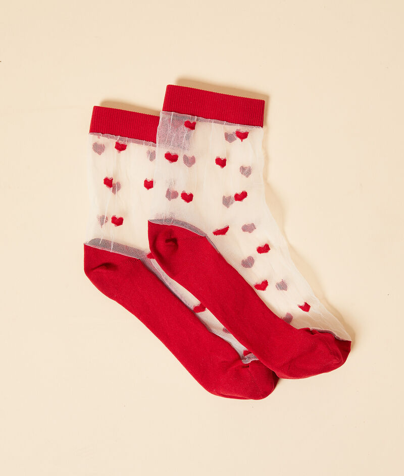 Modische Socken aus Tüll mit Herzmuster