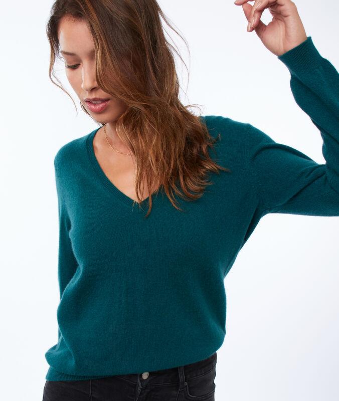 Pullover mit v-ausschnitt, 100 % kaschmir tannengrün.