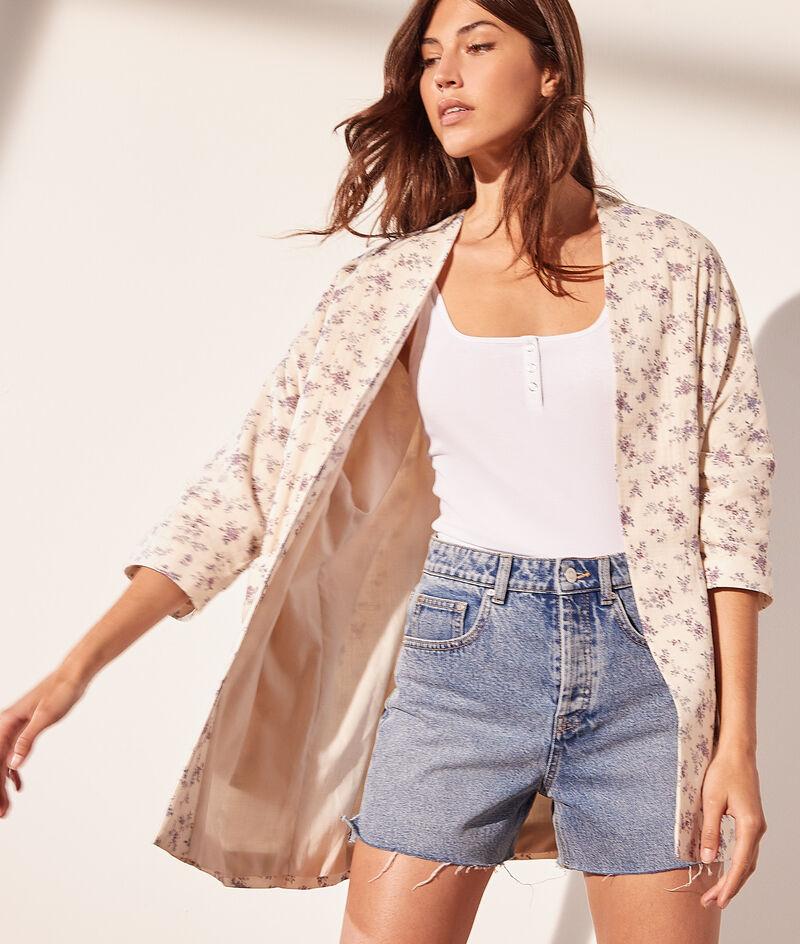 Kimono-Jacke mit Print aus Baumwollgaze