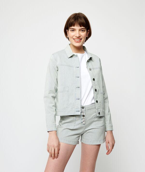 Jacke aus gestreiftem Jeansstoff