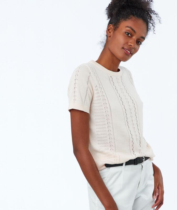 Pullover mit kurzen ärmeln aus strickstoff honiggelb.