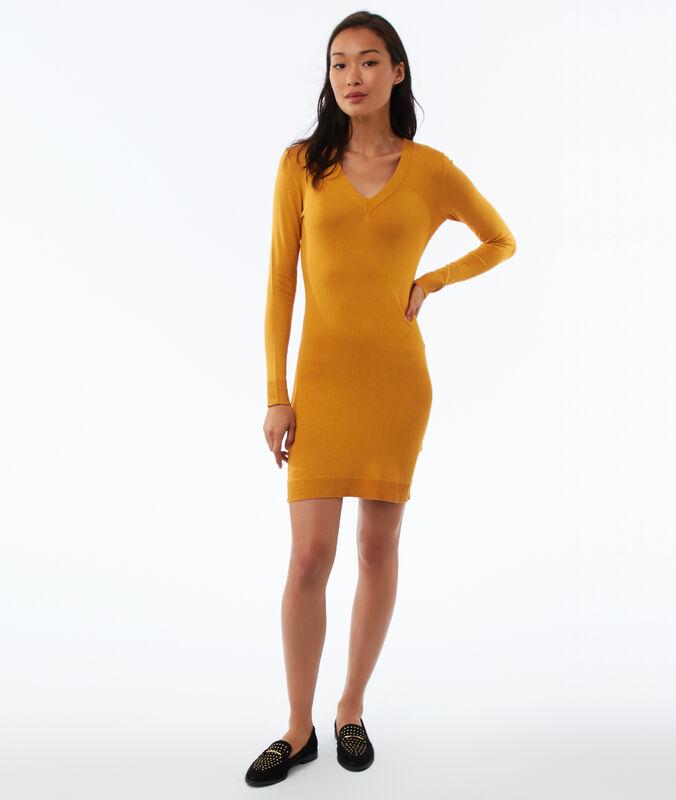 Pulloverkleid mit langen ärmeln und v-ausschnitt honiggelb.