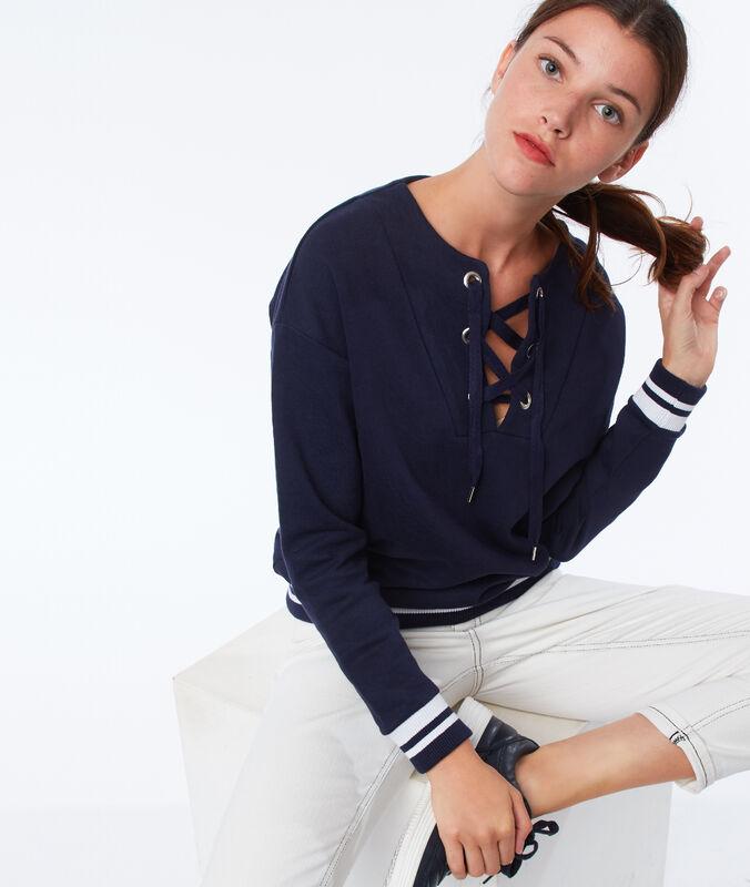 Sweat-shirt mit geschnürtem ausschnitt marineblau.