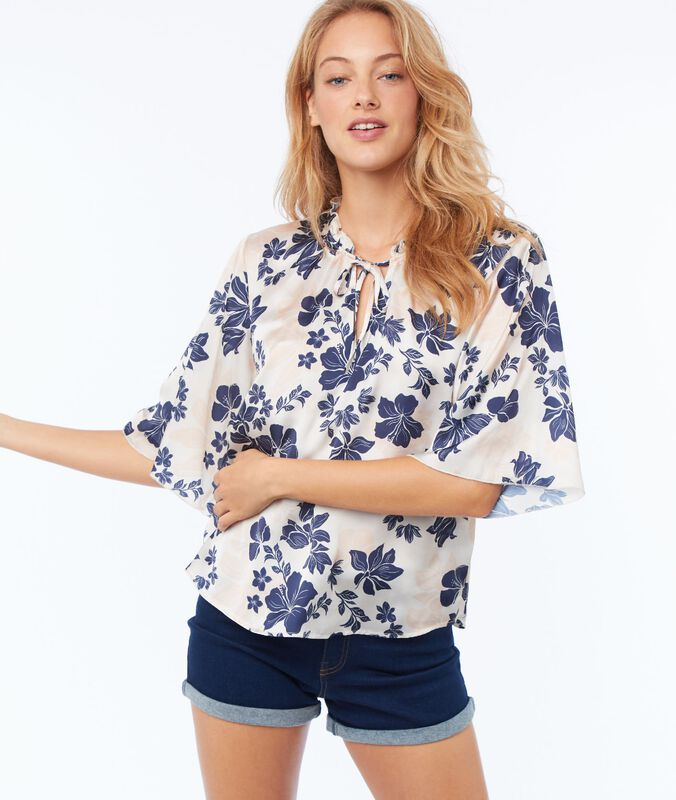 Bluse mit satin-effekt und floralem print nude.