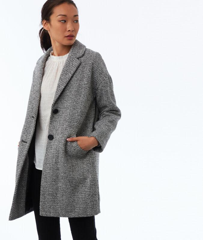 Mantel mit knöpfen und fischgrätmuster hellgrau meliert.