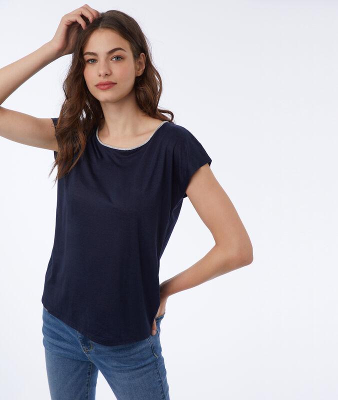 T-shirt mit metallic-farbener einfassung marineblau.