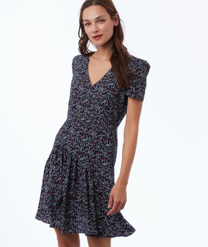 Kleid mit print marineblau.