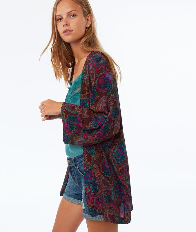 Kimono mit print und 3/4-ärmeln purpurrot.