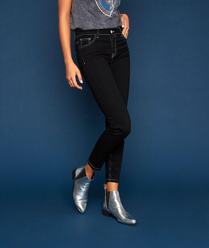 Ausgestellte jeans mit kontrastfarbenen steppnähten schwarz.