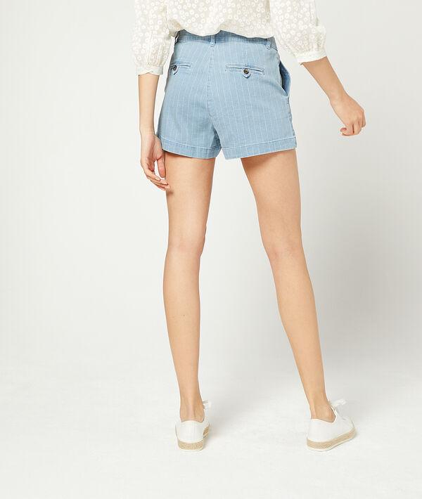 Shorts aus gestreiftem Jeansstoff
