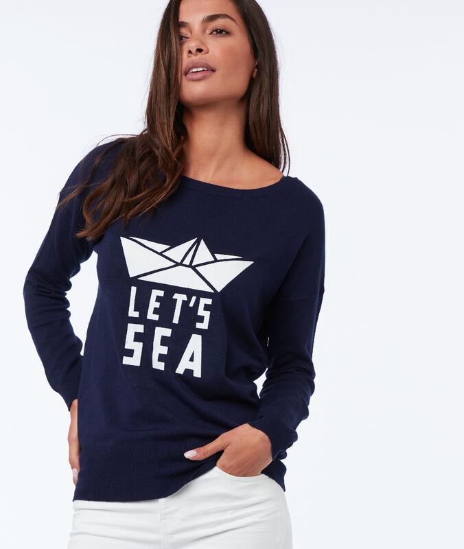 Pullover mit print aus viskose marine.