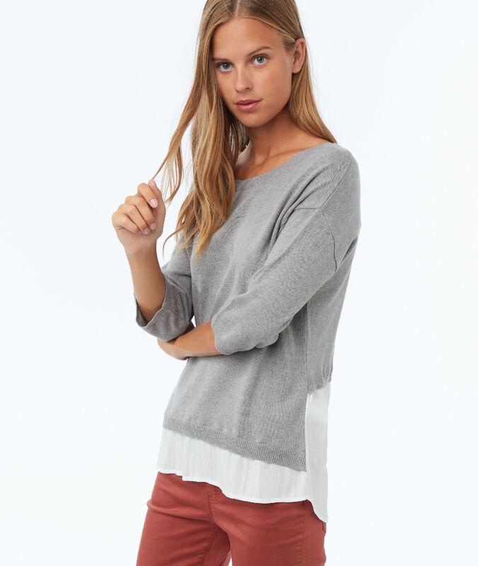 Pullover aus zweierlei materialien mit 3/4-ärmeln hellgrau meliert.