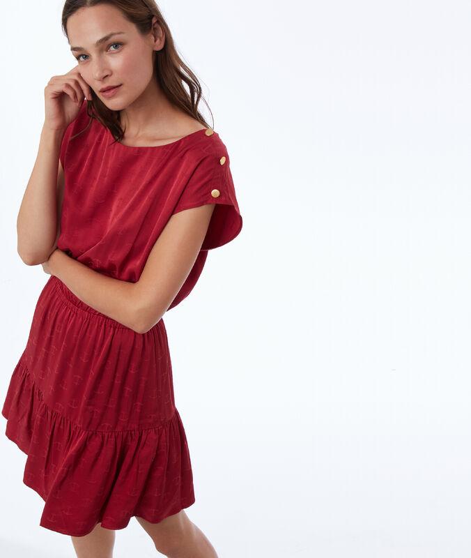 Kleid mit jacquard-muster anker himbeere.
