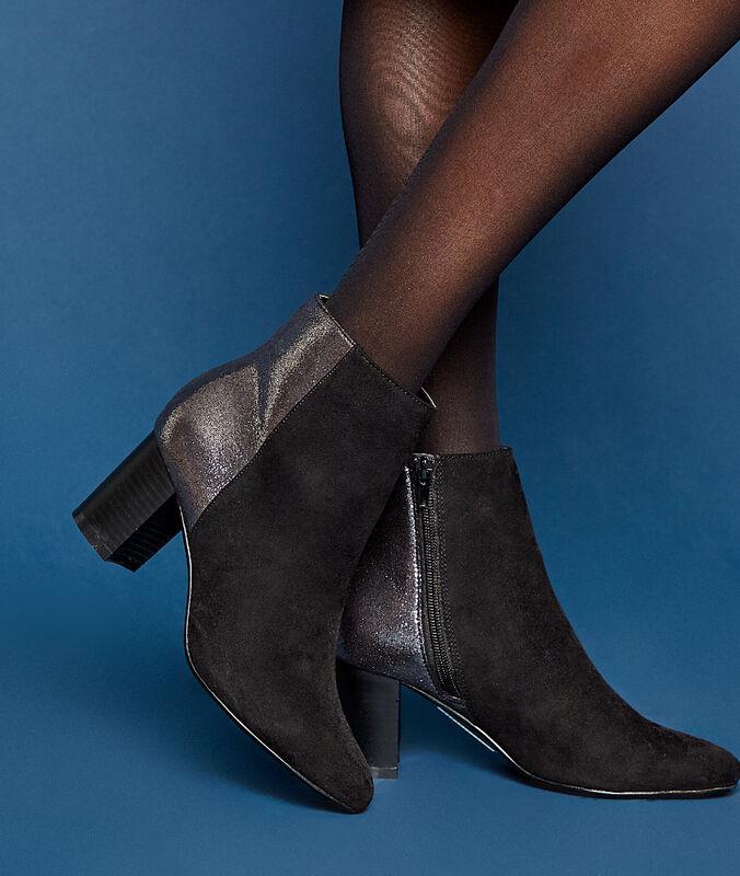 Stiefel aus zweierlei material mit absatz schwarz.