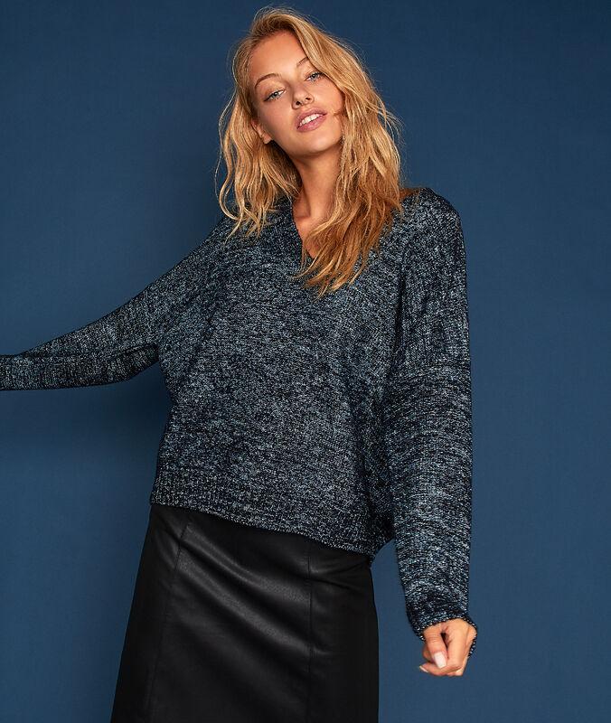 Pullover mit v-ausschnitt und metallic-fäden marine.