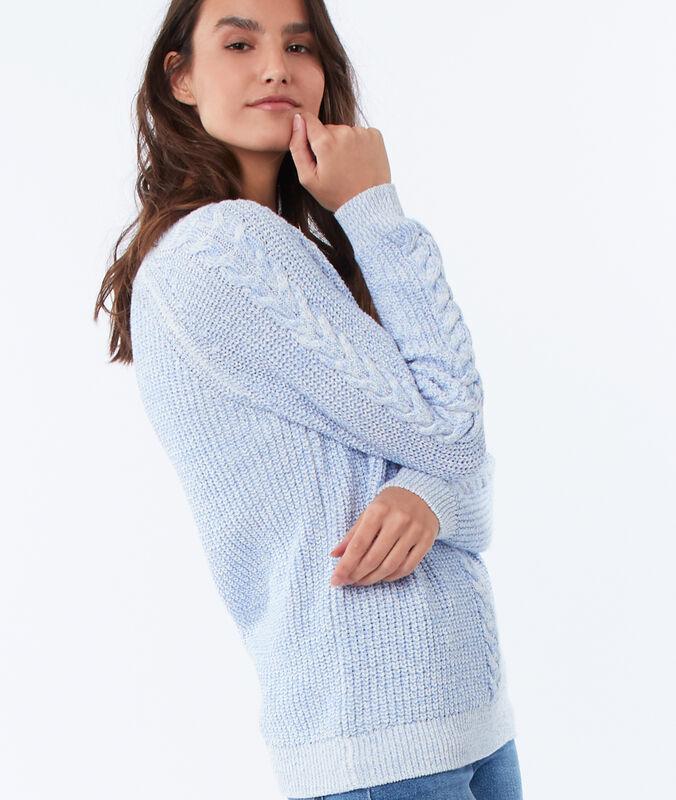 Pullover mit zopf himmelblau.