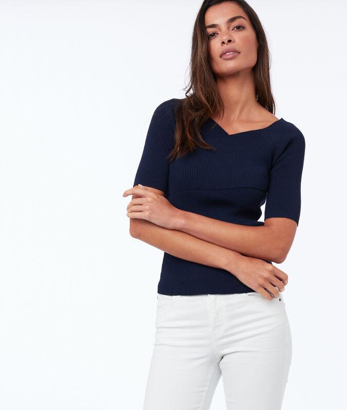 Pullover mit kurzen ärmeln, v-ausschnitt, wickeloptik marineblau.