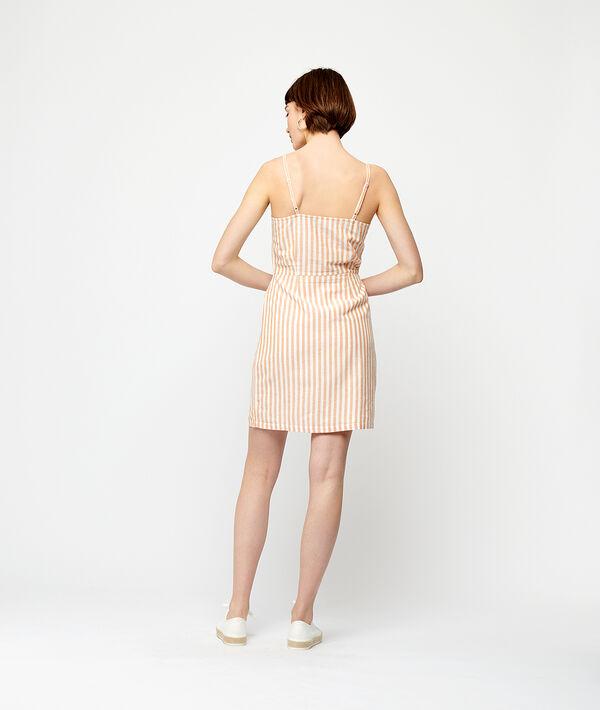 Geknöpftes Kleid mit Streifen