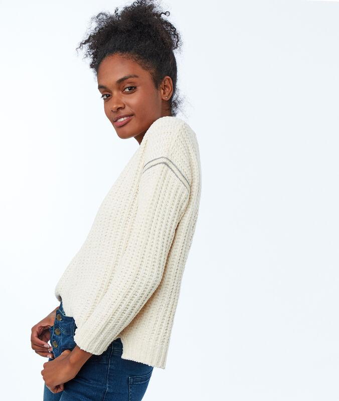 Pullover mit seitlichen bändern beige.