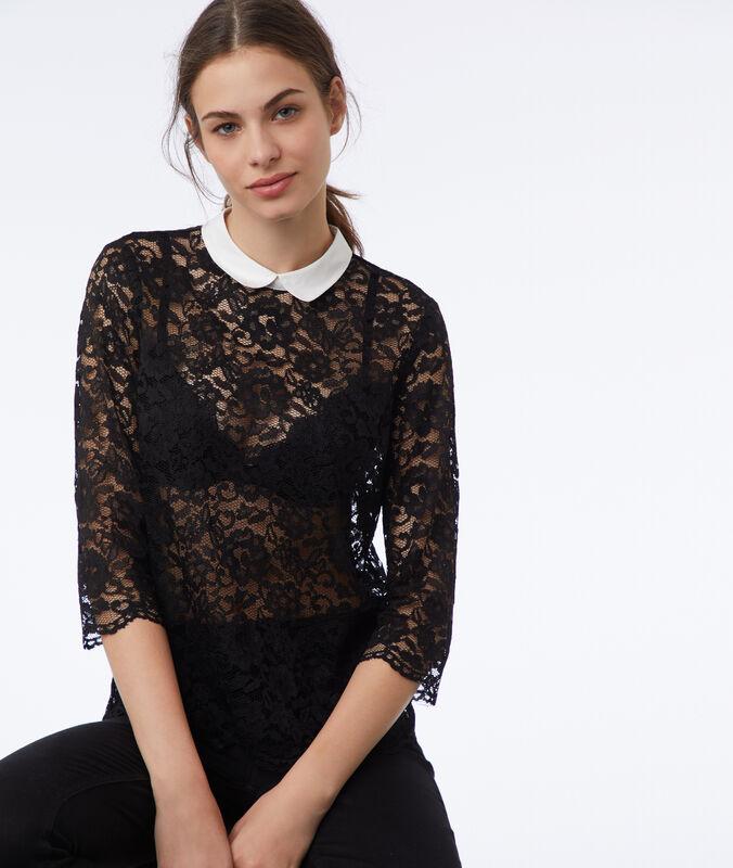 Bluse aus spitze mit claudine-kragen schwarz.