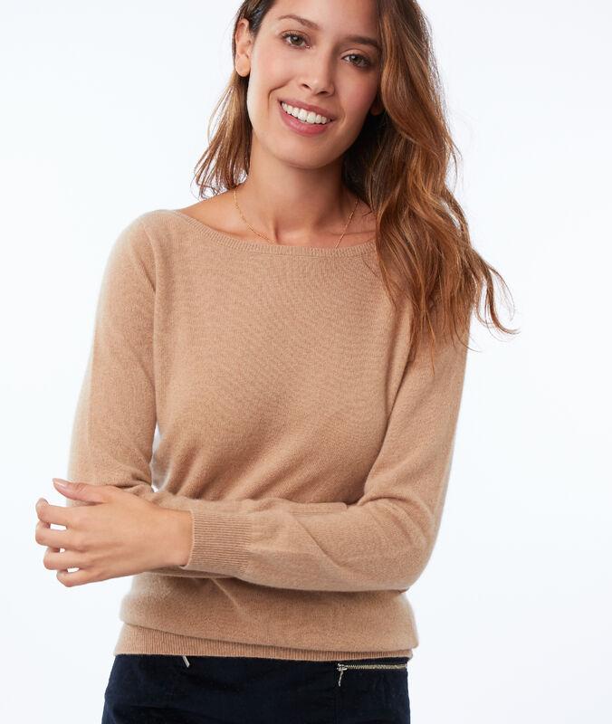 Pullover mit u-boot-ausschnitt, 100 % kaschmir camel.
