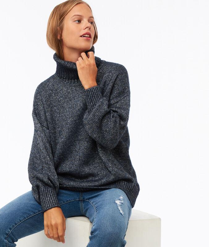 Pullover mit rollkragen mit details aus metallic-fäden marineblau.