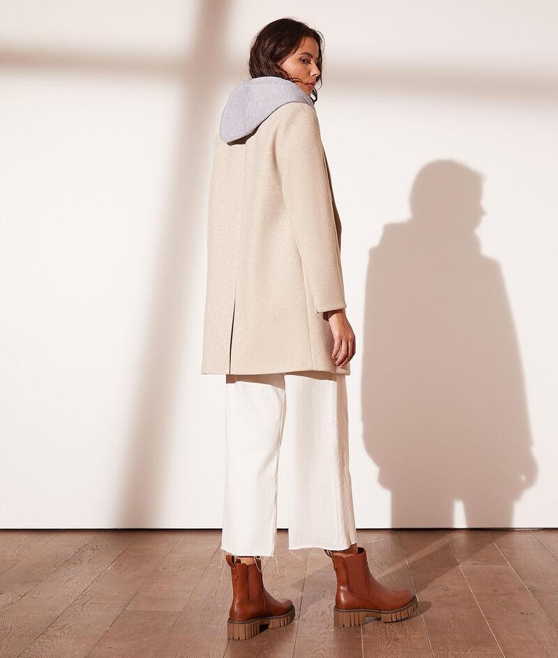 Mittellanger Mantel mit Kapuze