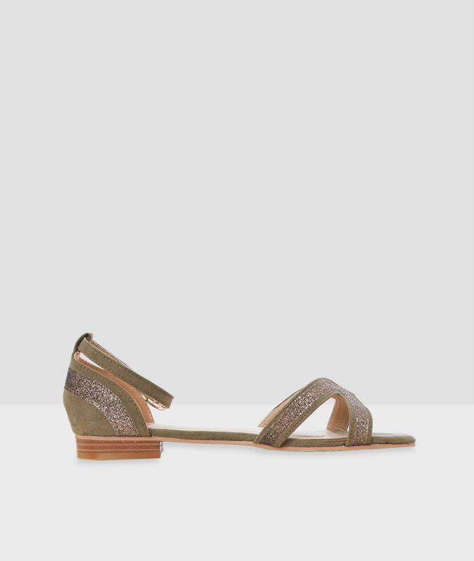 Sandalen mit pailletten olivgrün.