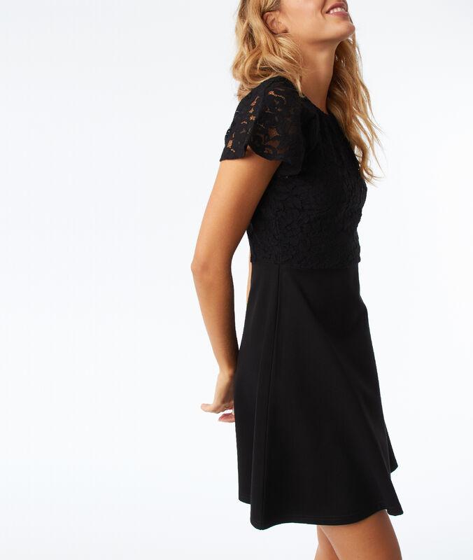 Kleid mit spitzeneinsatz und offenem rücken schwarz.